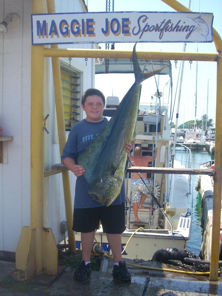 Caleb with 32 lb. Mahi Mahi