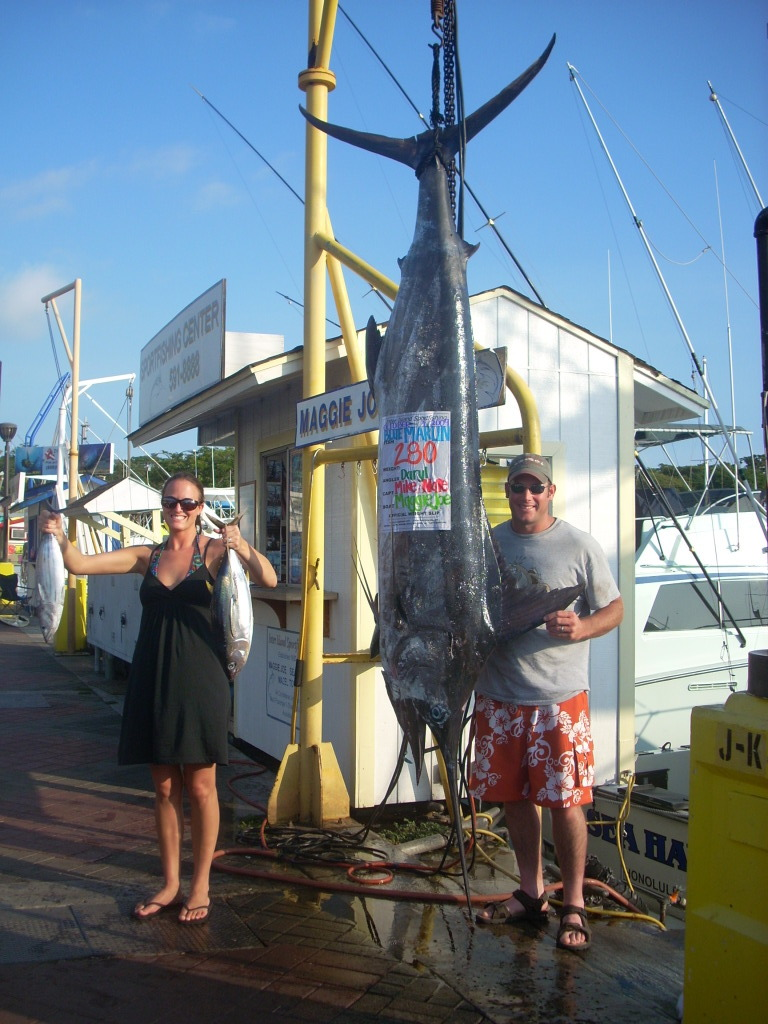Chelsea with 280 lb Blue Marlin and 4 Shibi