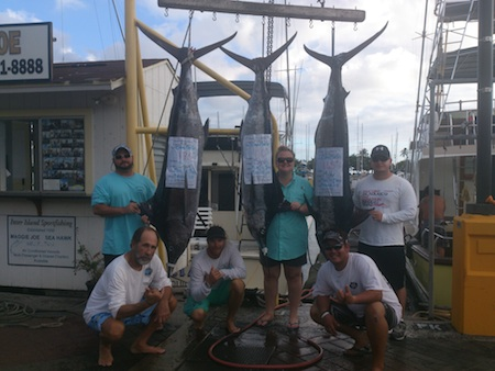 Aug 12 On maggie joe with Capt mike, Mikey and Ty Dave 175 Sarah 110 Mike 165