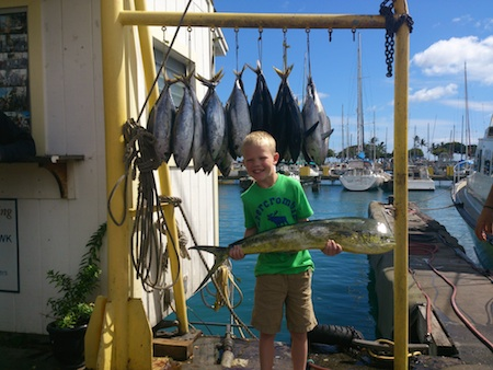 Austin with his catch!