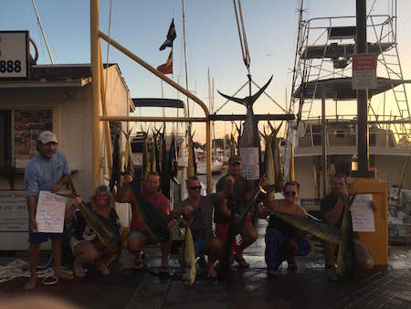 Dave and piper released their Marlins Jen with her blue 27 mahi On Maggie Joe with Capt Michael, Dallas, and Ty