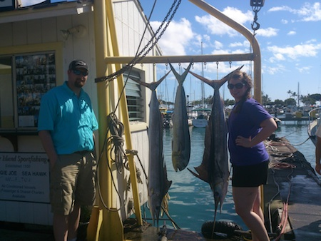 Eric and Kelly with 2 Striped Marlin and a Mahi Mahi!