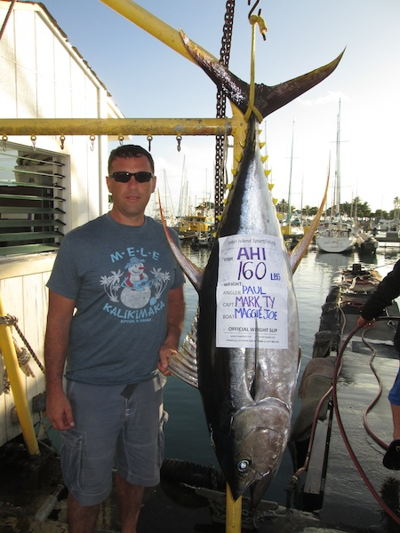 Paul caught a 160 lbs Ahi on board The Maggie Joe with Captain Mark and Mate TY