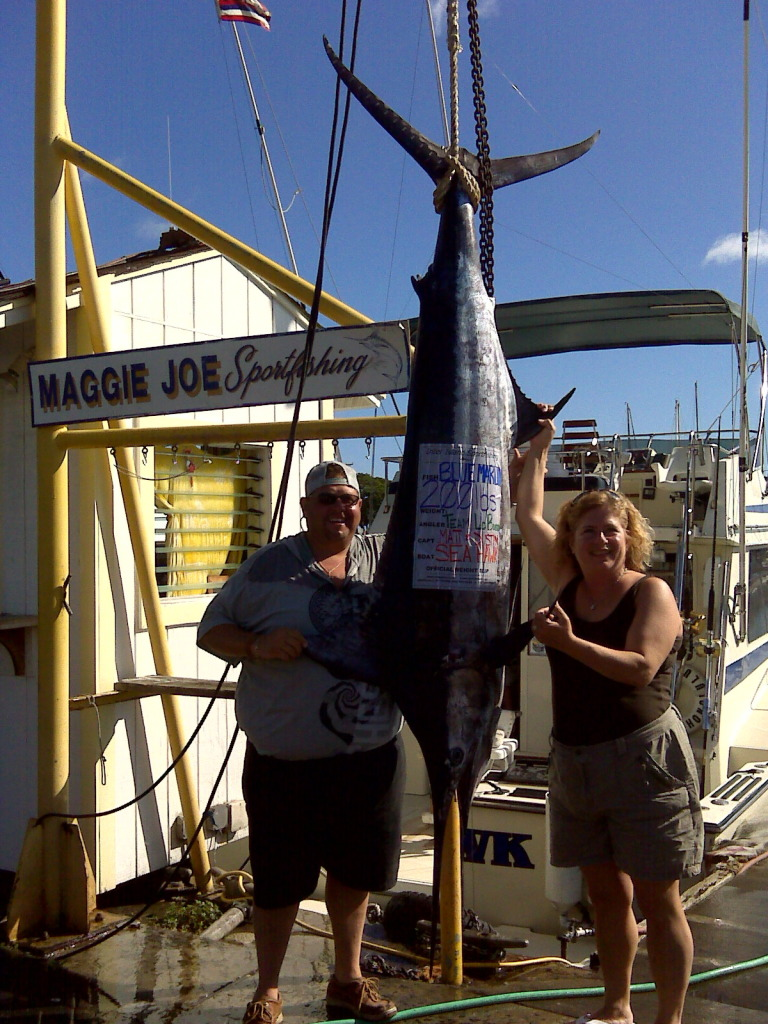 Team Labuono with 200 lb Blue Marlin