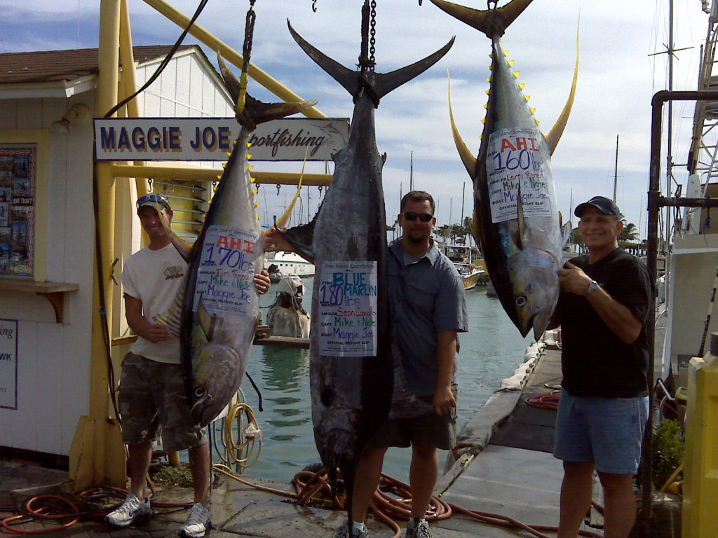 180 lb Marlin, 170 lb Ahi, 160 lb Ahi