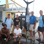 ruckus-165-lb-blue-marlin-1-mahi-and-3-akus-anglers-mark-bob-paul-and-jason-with-capt-morgan-and-mate-shone2