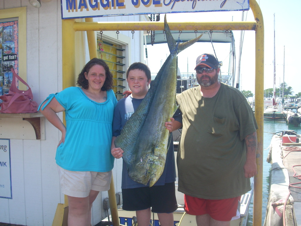 Stephanie, Caleb and Craig with 32 lb. Mahi Mahi