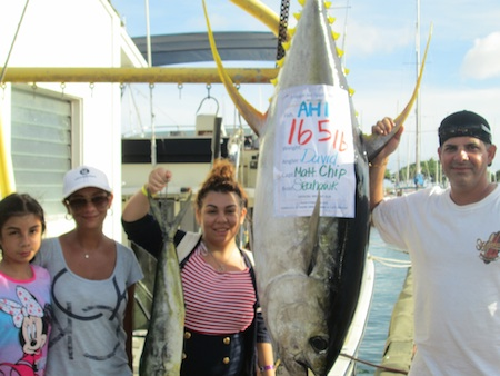 7:22 Cathy Marks, FDX, Seahawk. Captain Matt, Mate Chip 165lb Ahi, 1 Mahi Mahi