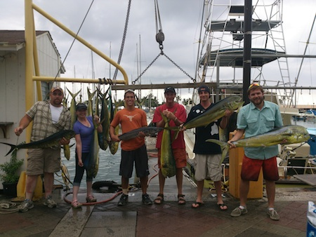 Janice, Clint, Travis, Mike, Matt and Ian with their catch!