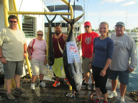 Seahawk, Captain Morgan, Mate Chip Catch- 145lb Ahi, 1 Mahi Mahi