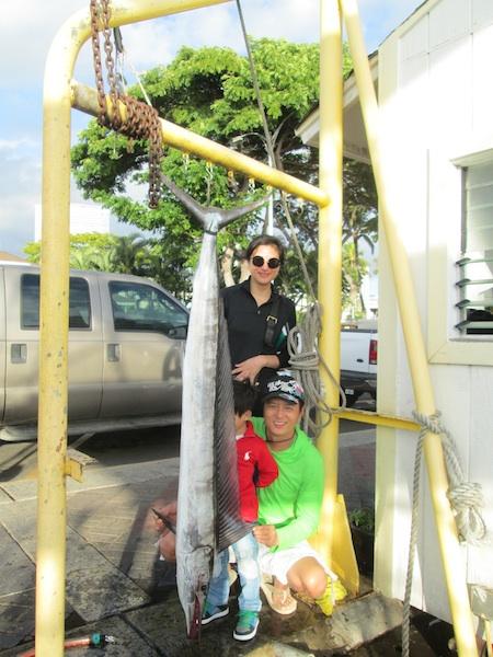 Tony Sr, Shirley and Tony Jr with Short Billed Spearfish!