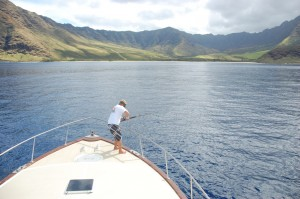 Nate Fishing with Island in Background