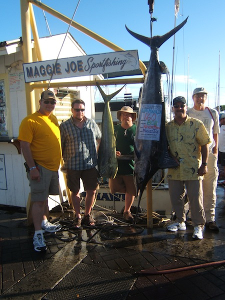 maggie-joe-160lb-blue-marlin-and-1-mahi-anglers-bob-and-jason-with-friends-kurt-terry-and-craig